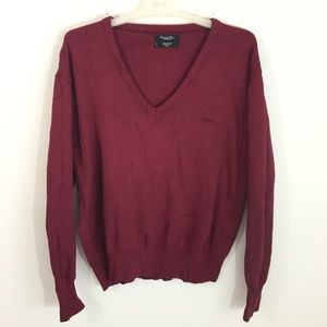 Christian Dior XL Burgundy V Neck Soft Sweater